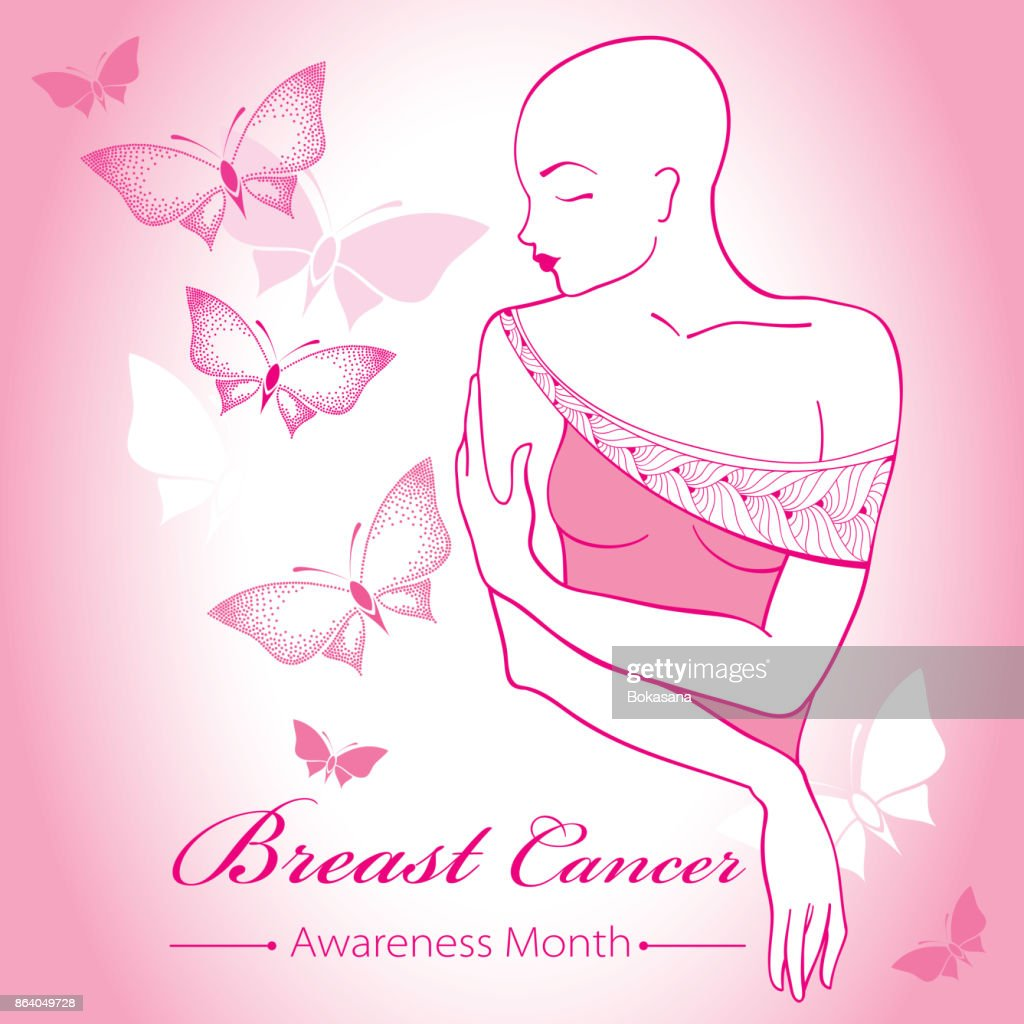 Vector bald woman after chemotherapy with ribbon on the pink background with dotted butterflies.