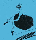 Vector ballerina with Awesome lettering.