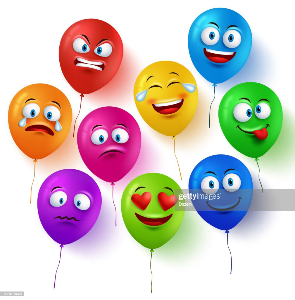 Vector balloon faces colorful set with facial expressions and emotions