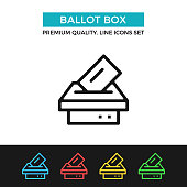 Vector ballot box icon. Voting, election concept. Premium quality graphic design. Modern linear stroke signs, pictograms, outline symbols collection, simple thin line icons set for websites, web design, mobile app