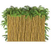 Vector Bamboo Fence with Palm
