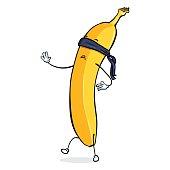 Vector Banana Character with Blinding Bandage