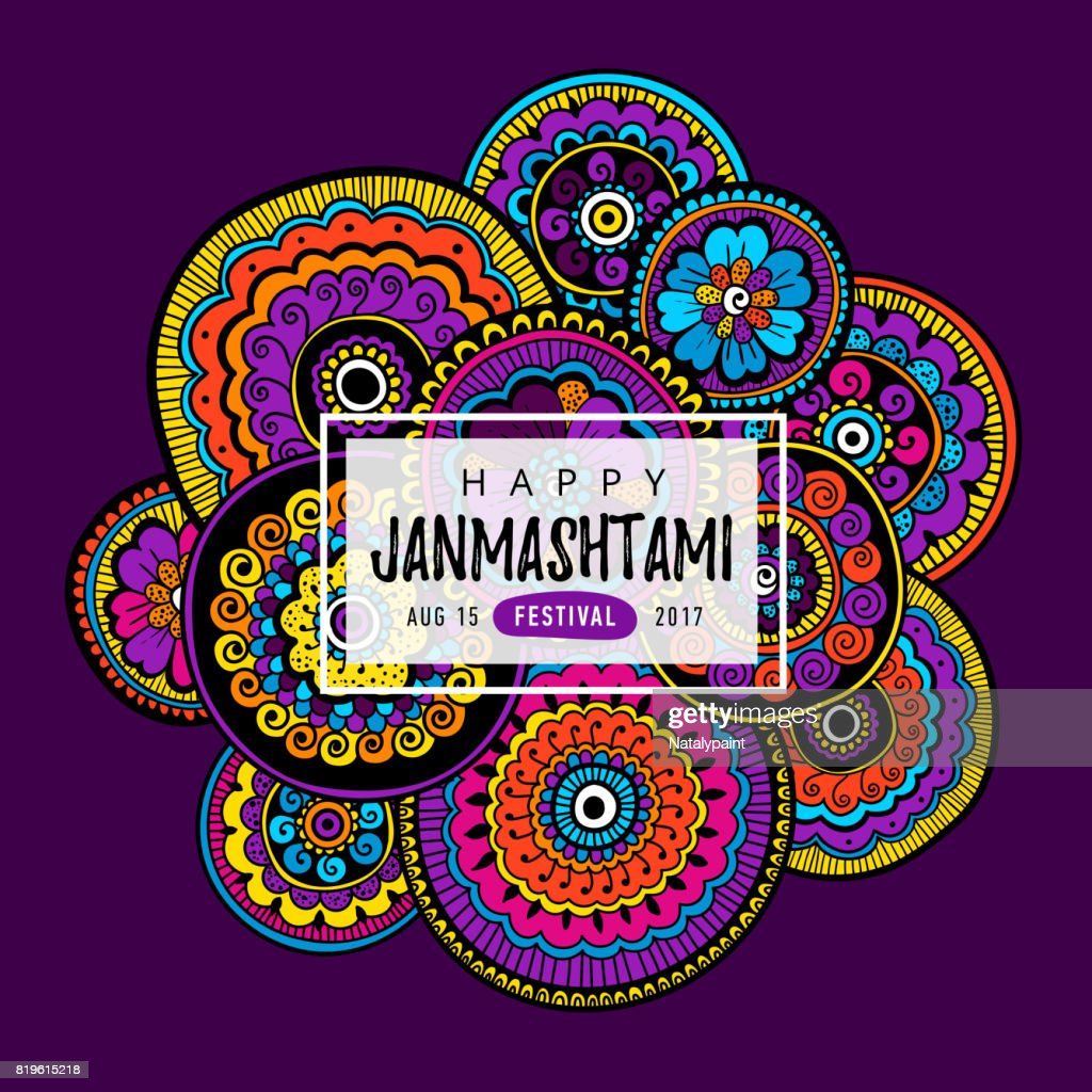 Vector banner, poster or greeting card for indian festival of Happy Krishna Janmashtami with hand drawn lettering