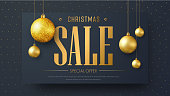 Vector banner template for Christmas sale