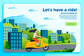 Vector banner template with girl on a motorbike