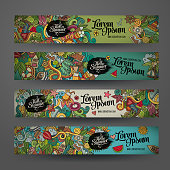 Vector banner templates with doodles summer
