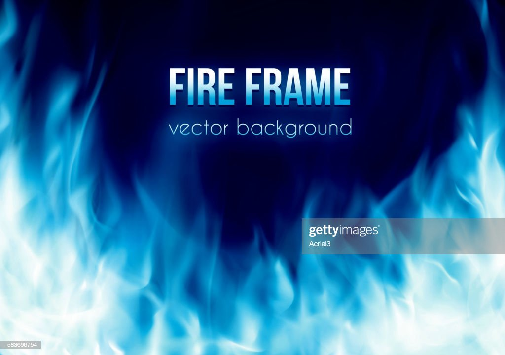 Vector banner with blue color burning fire frame