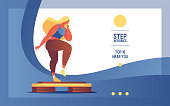 Vector banner with flat woman character doing step aerobics.