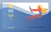 Vector banner with girl with waterobic noodle in a pool doing water aerobics.
