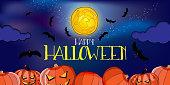 vector banner with happy halloween text, big yellow moon, pumkins and bats