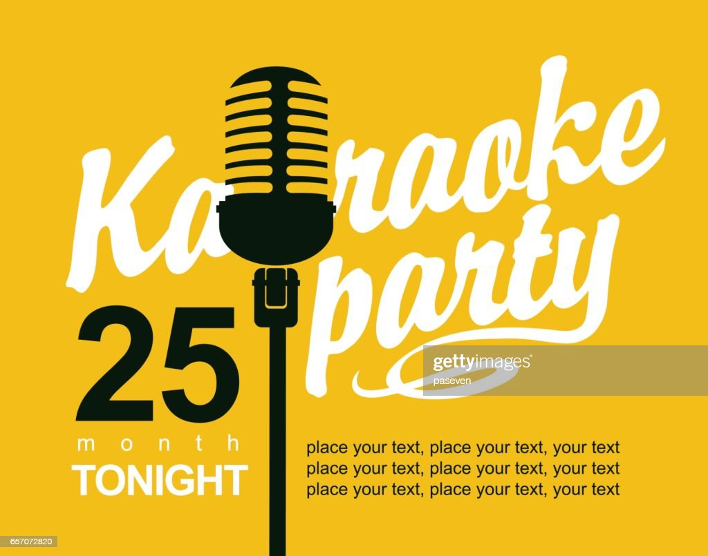 Vector Banner with microphone for karaoke parties