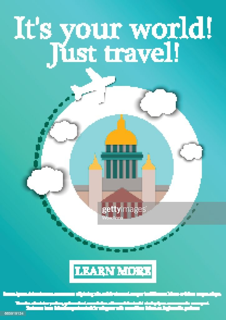 Vector Banner with text Its your world.Just travel. Concept website template.Modern flat design.St. Isaac's Cathedral.Saint Petersburg