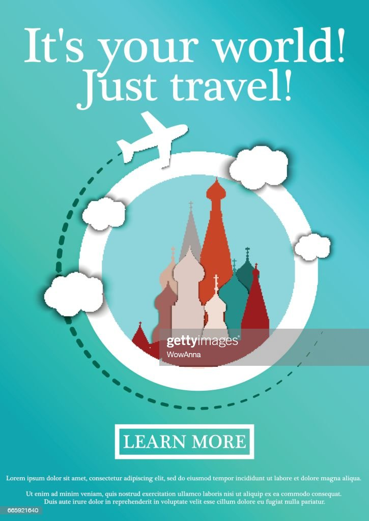 Vector Banner with text Its your world.Just travel. Concept website template.Modern flat design.St. Basil's Cathedral, Moscow