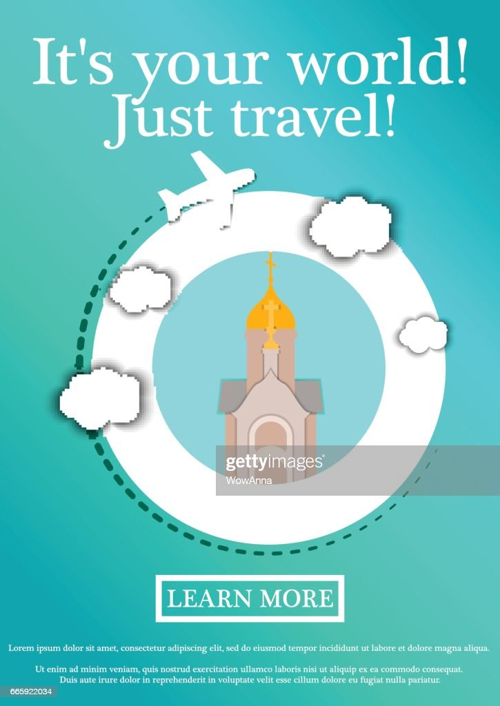 Vector Banner with text Its your world.Just travel. Concept website template.Modern flat design.Chapel in the name of St. Nicholas the Wonderworker, Novosibirsk