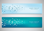 Vector banners and headers for site with DNA strand and molecular structure. Genetic engineering or laboratory research. Abstract geometric texture for medical, science and technology design.