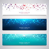 Vector banners and headers for site with molecules background and neural network. Genetic engineering or laboratory research. Abstract geometric texture for medical, science and technology design.