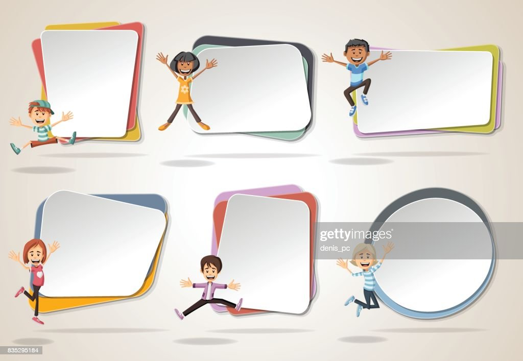 Vector banners / backgrounds with cartoon kids jumping.