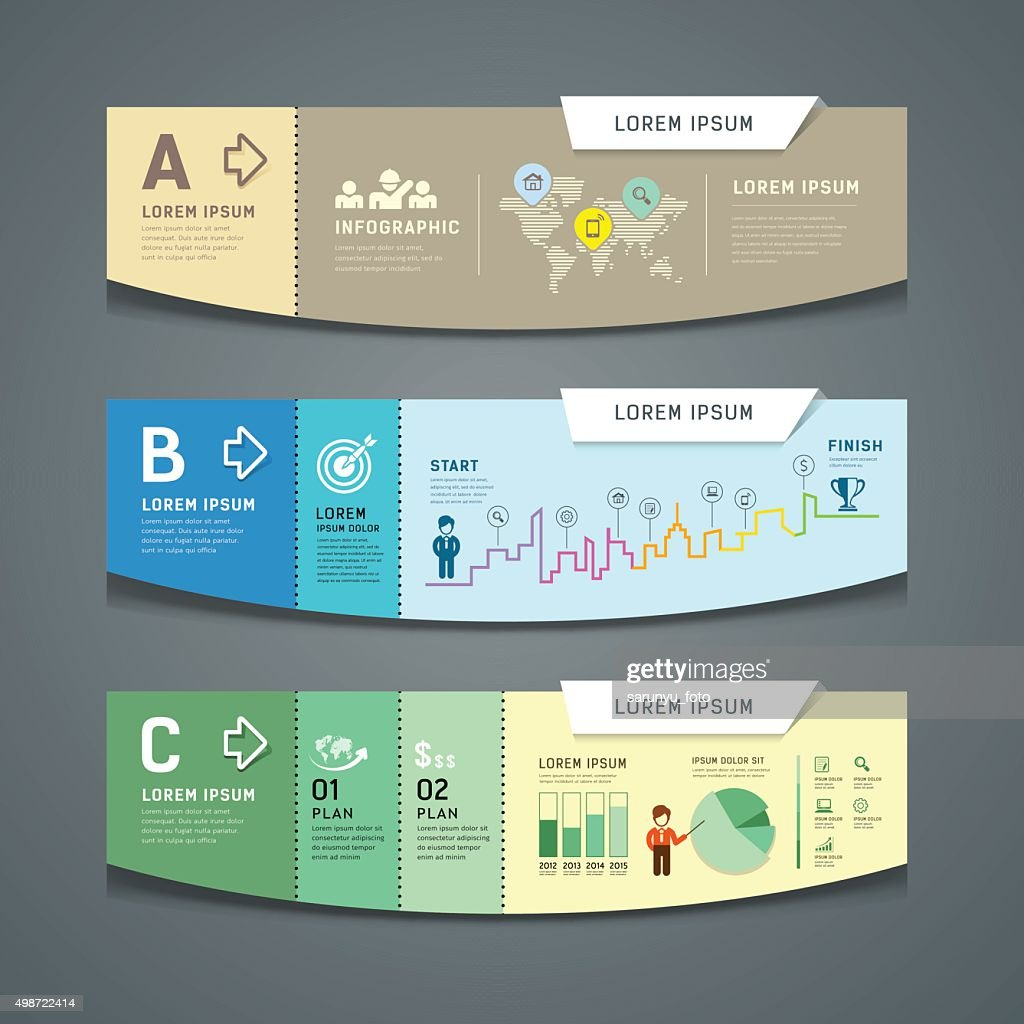 Vector Banners colorful paper cut for business infographic design