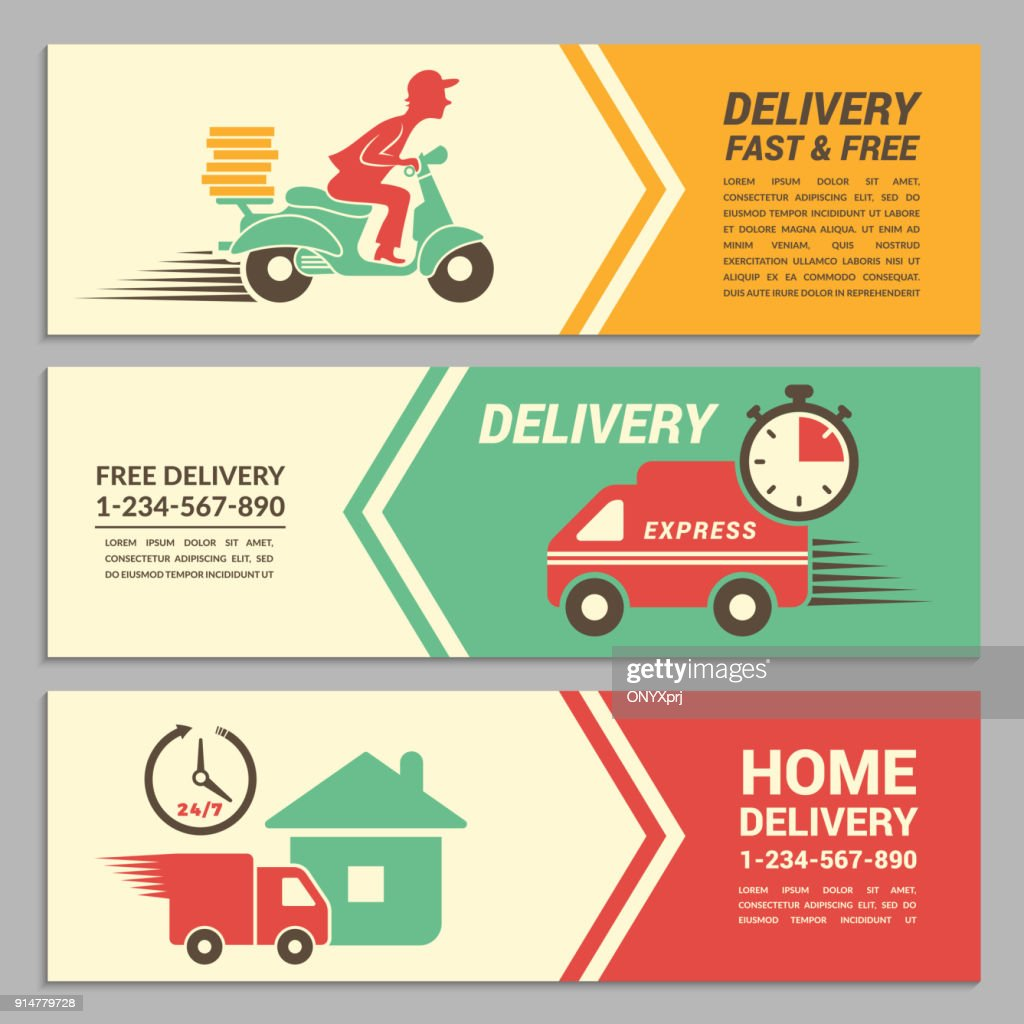 Vector banners design template for fast delivery service