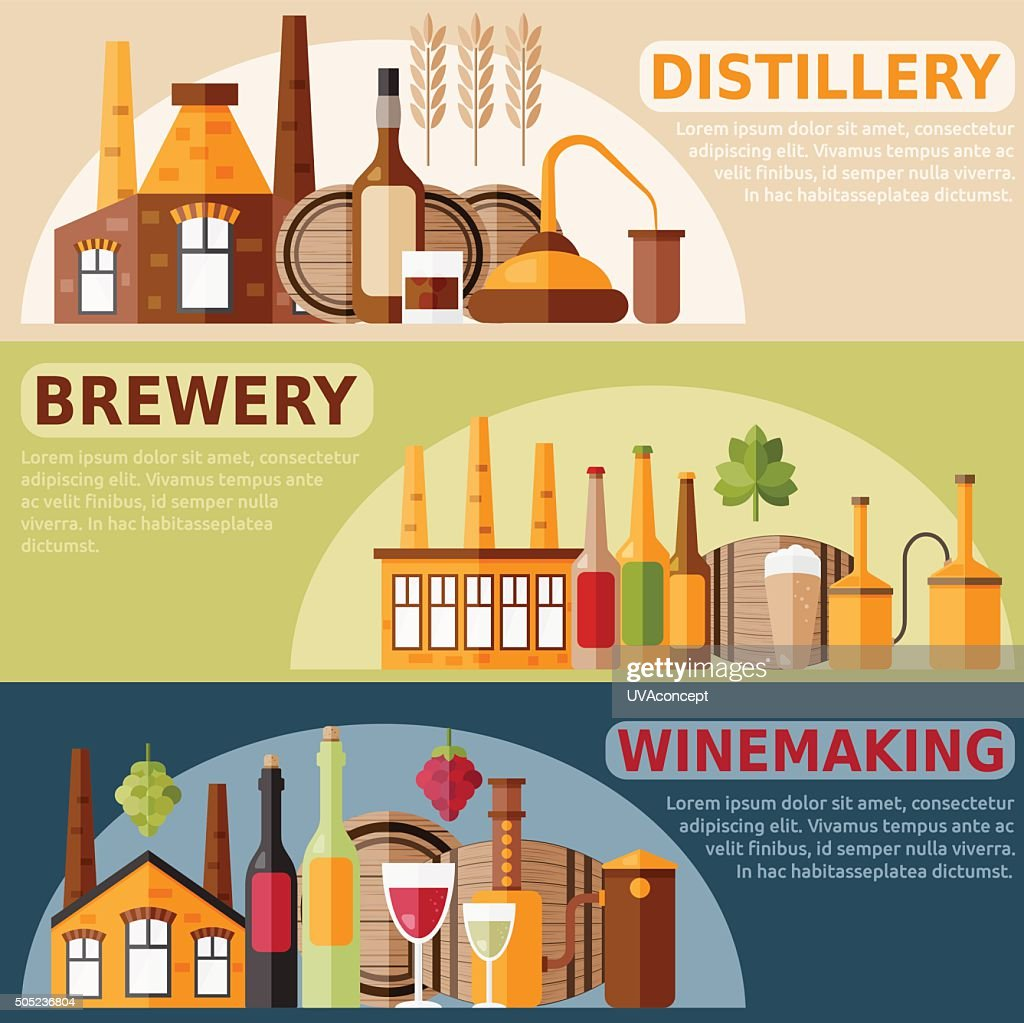 vector banners on distillery,winemaking and brewery theme