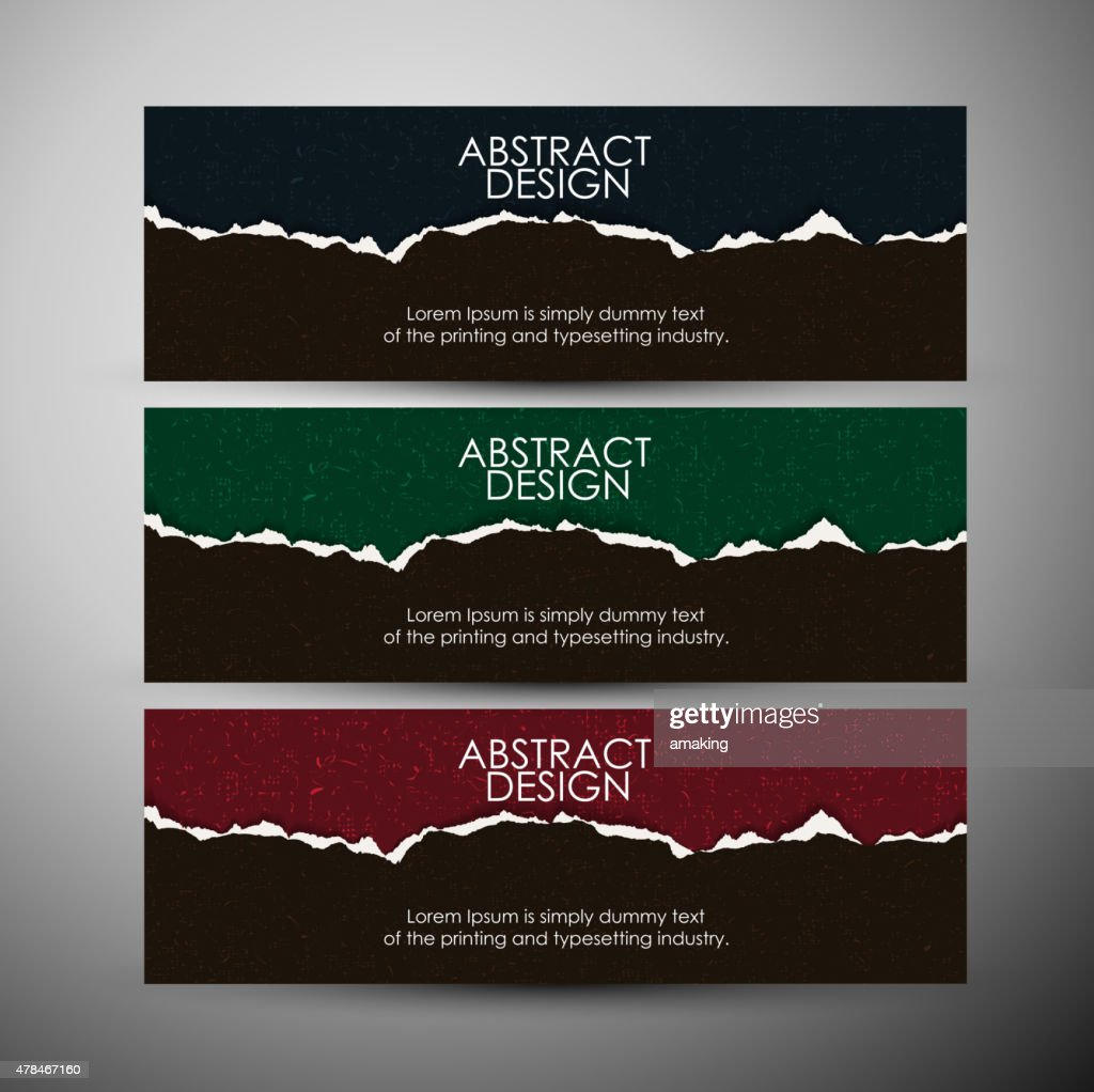 Vector banners set with Abstract Torn paper background.