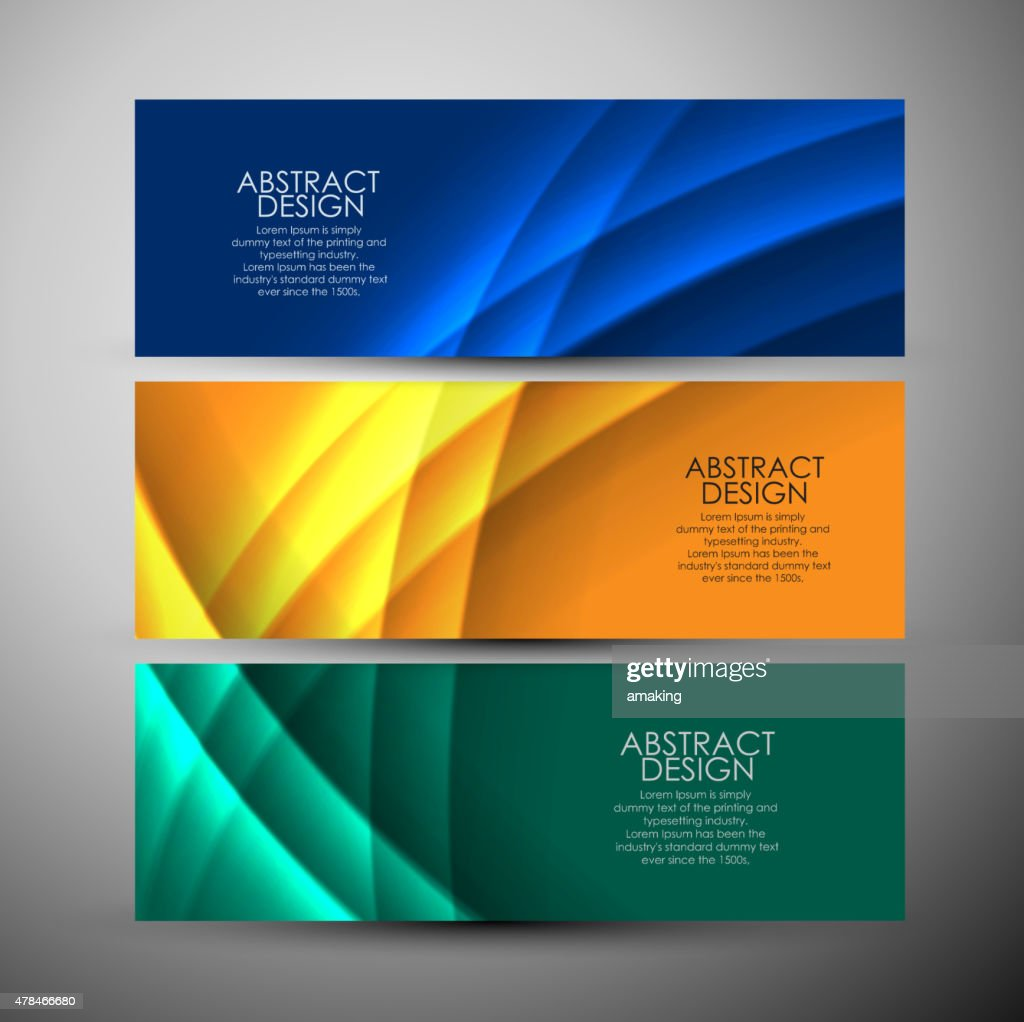 Vector banners set with curves background.