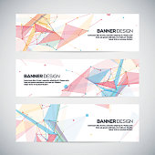 Vector banners set with polygonal abstract shapes, circles, lines, triangles