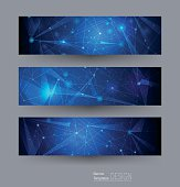 Vector banners set with polygonal, geometric, lines, Triangle pattern shape