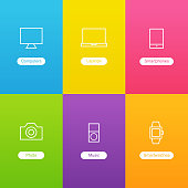 Vector Banners with Devices Icons