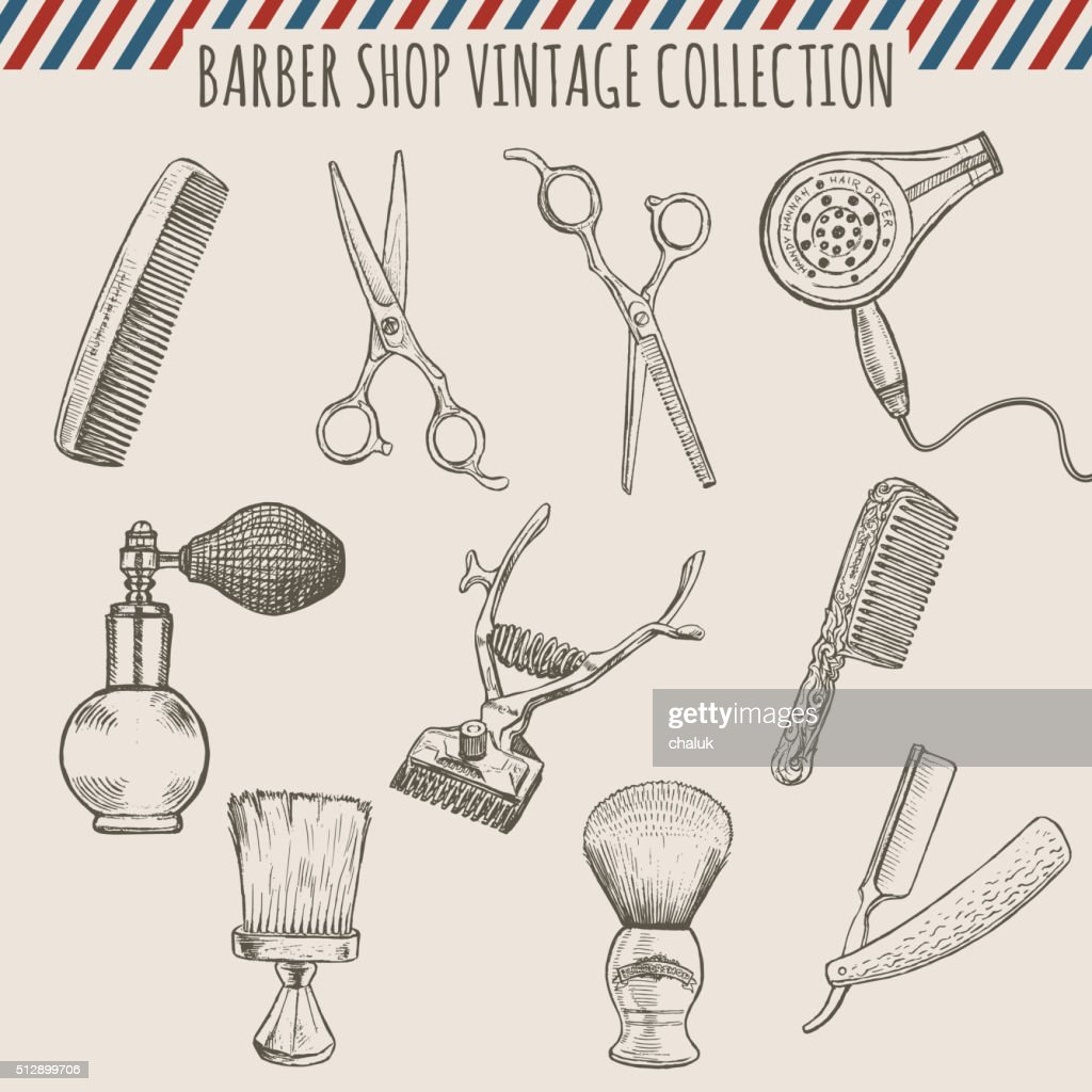 Vector barber shop vintage tools collection.  Pencil hand drawn illustration