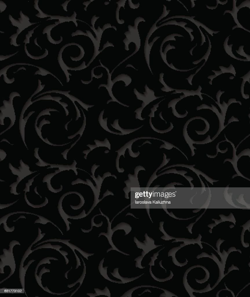 Vector baroque damask black elegant lace texture. Luxury floral dark pattern element for wrapping paper, fabric, page fill, wallpaper, background. Paper cut black floral pattern with shadow