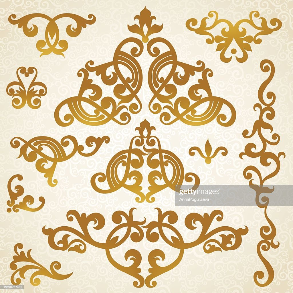 Vector Baroque Ornaments In Victorian Style Vector Art | Getty Images