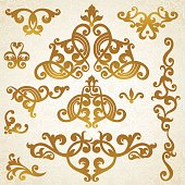 Vector baroque ornaments in Victorian style