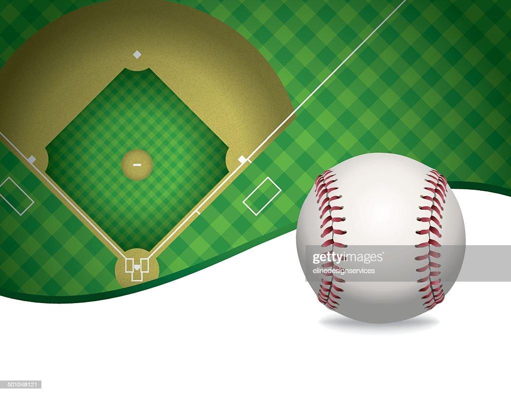 Vector Baseball and Baseball Field Background Illustration