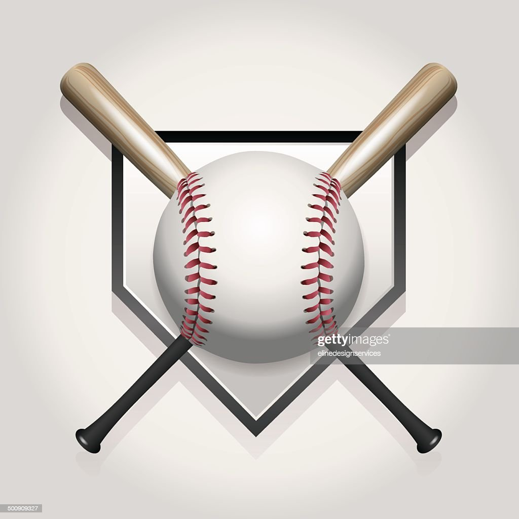 Vector Baseball, Bat, Homeplate Illustration