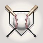 Vector Baseball, Bat, Homeplate Illustration