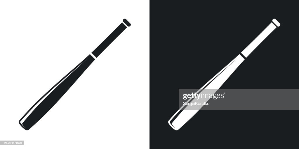 Vector baseball bat icon. Two-tone version