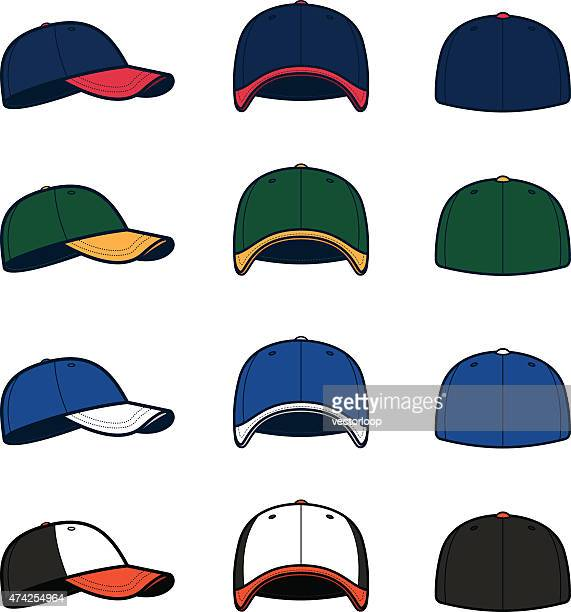 vector baseball caps - hat stock illustrations