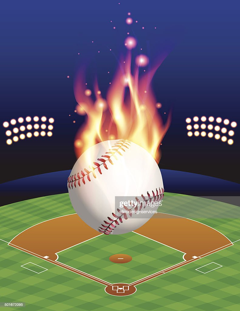 Vector Baseball, Field, and Flame Illustration