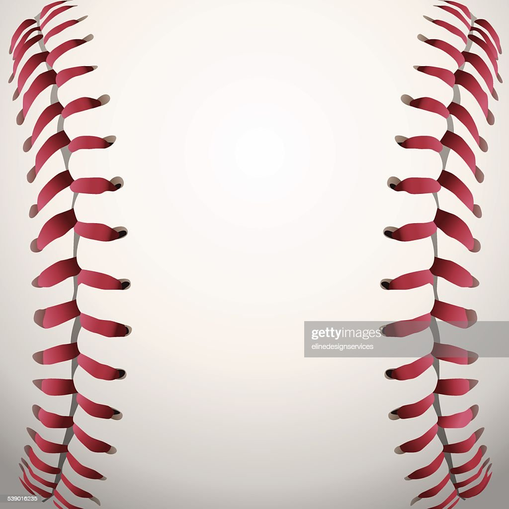 Vector Baseball Laces Closeup Background Illustration