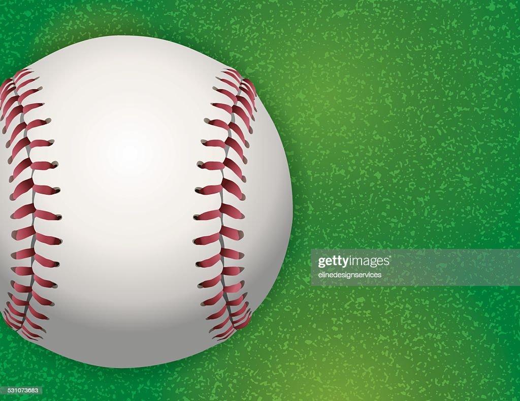 Vector Baseball on Textured Grass Illustration