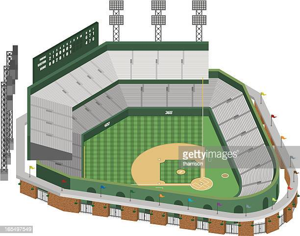 vector baseball stadium - architectural feature stock illustrations, clip art, cartoons, & icons