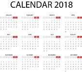 Vector basic Calendar 2018 illustration. Eps 10 design.