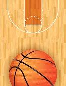 Vector Basketball and Hardwood Court