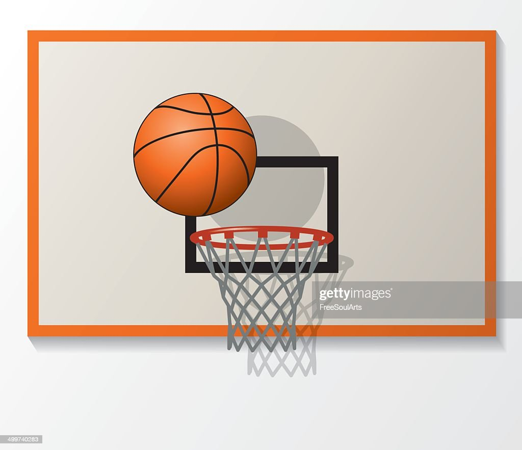 vector basketball  backboard set, ball dunk in the hoop