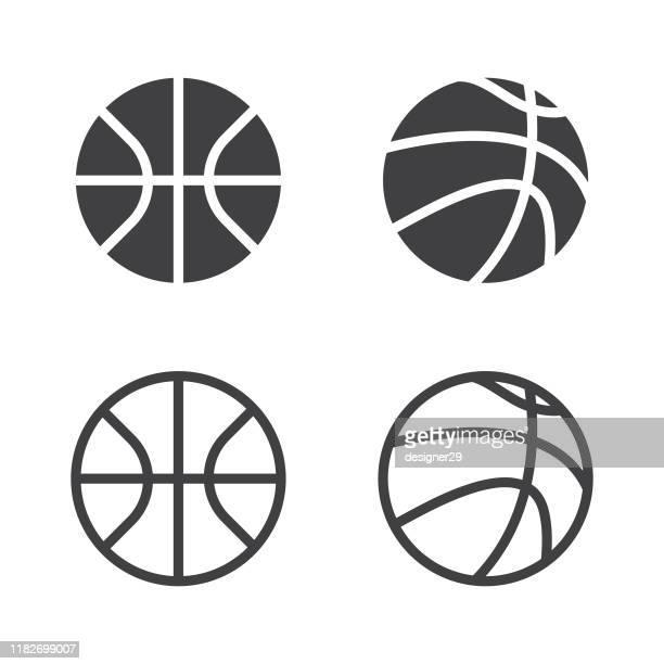ベクトルバスケットボールボールアイコンセットは、白い背景に分離されています。 - バスケットボール点のイラスト素材/クリップアート素材/マンガ素材/アイコン素材