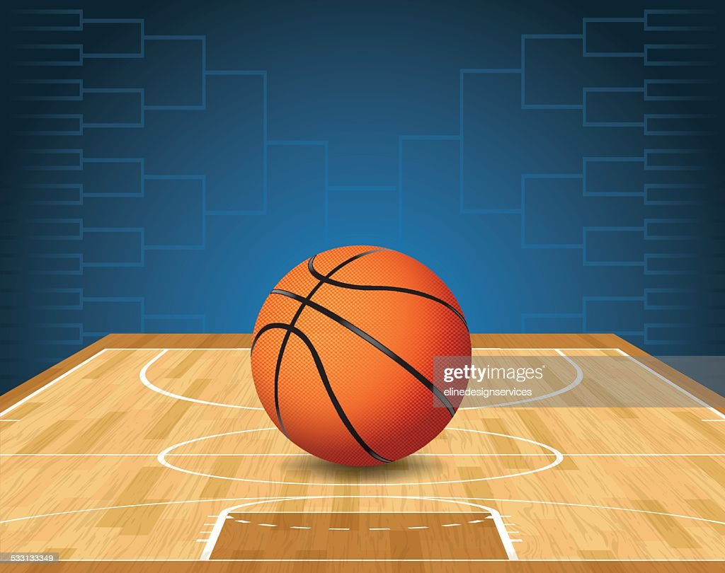 Vector Basketball Court and Ball Tournament Illustration