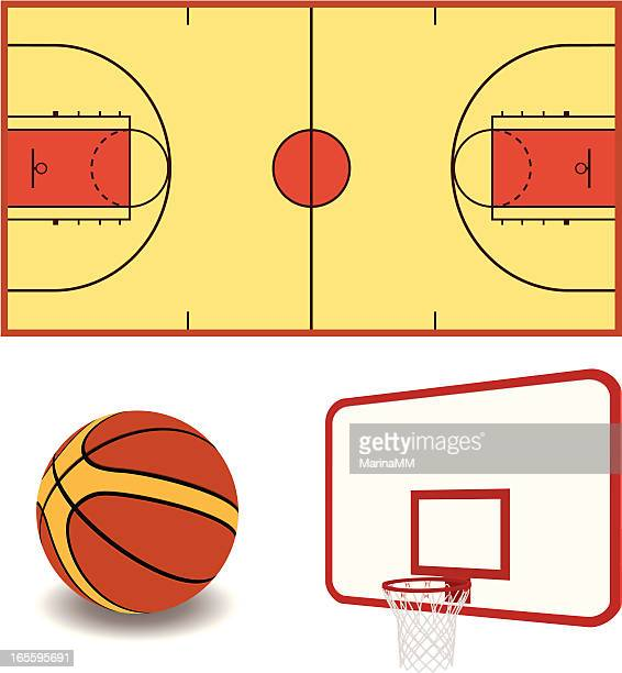 ilustraciones, imágenes clip art, dibujos animados e iconos de stock de vector de equipo de baloncesto - cancha de baloncesto