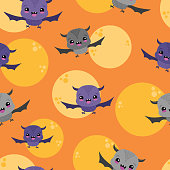 Vector Bats Moons Orange Sky Seamless Pattern Background