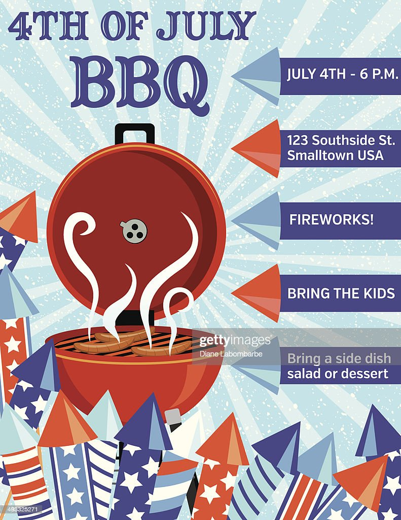Vector Bbq Invitation For July 4th Party Vector Art   Getty Images